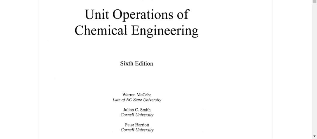 Unit Operations Of Chemical Engineering 6th Edition